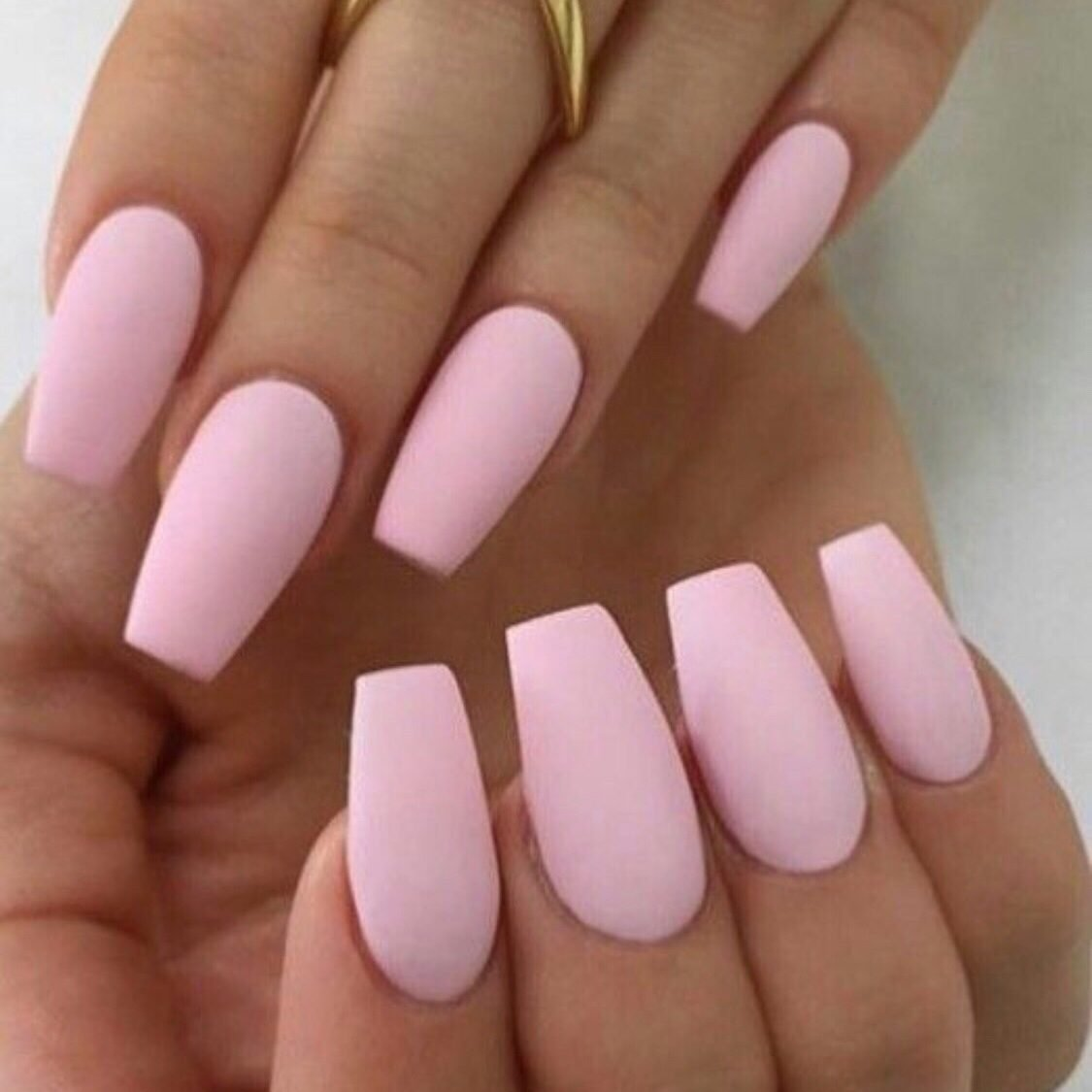 coffin shape pale pink nail extensions
