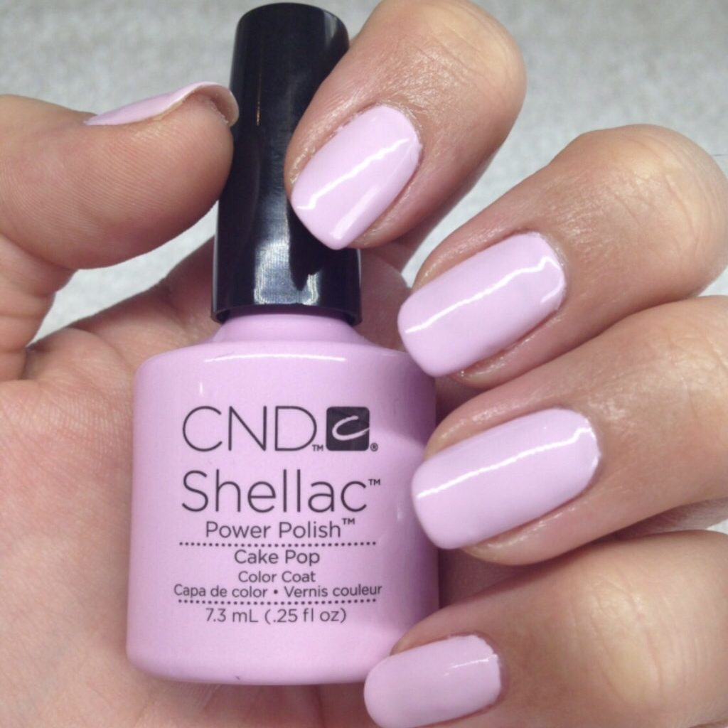 shellac nail with baby pink colour