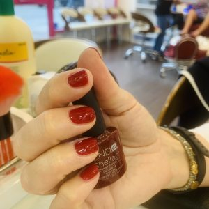 dark red cnd shellac nails 1