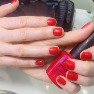 red cnd shellac nails