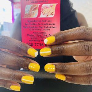 Yellow Shellac Nails Design 29071